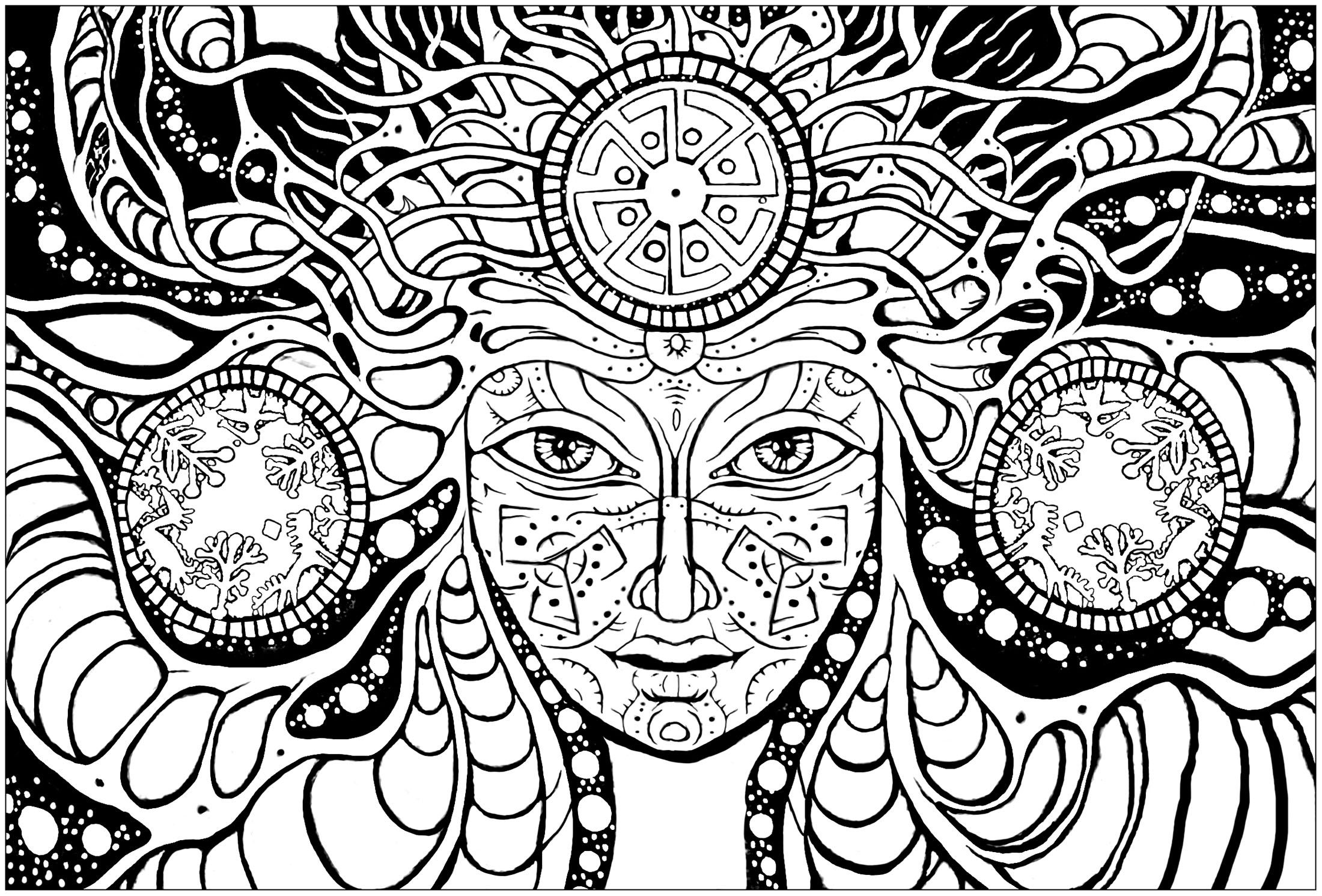 Psychedelic Woman Color This Woman Face And The Strange Patterns That Surround Her From The Gallery Skull Coloring Pages Sun Coloring Pages Coloring Pages