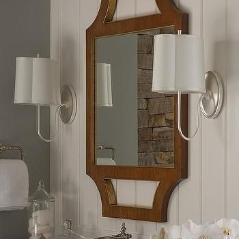Rustic Bathroom with Barbara Barry Simple Scallop Wall Sconces ...