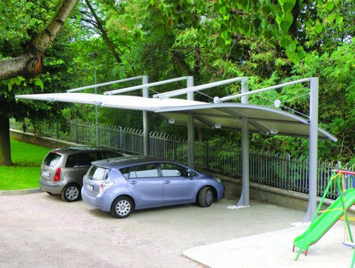 Pvc Carport Canvas For Professional Use With Integrated Photovoltaic Panel Parking System Sprech S R L Carport Carport Designs Pergola