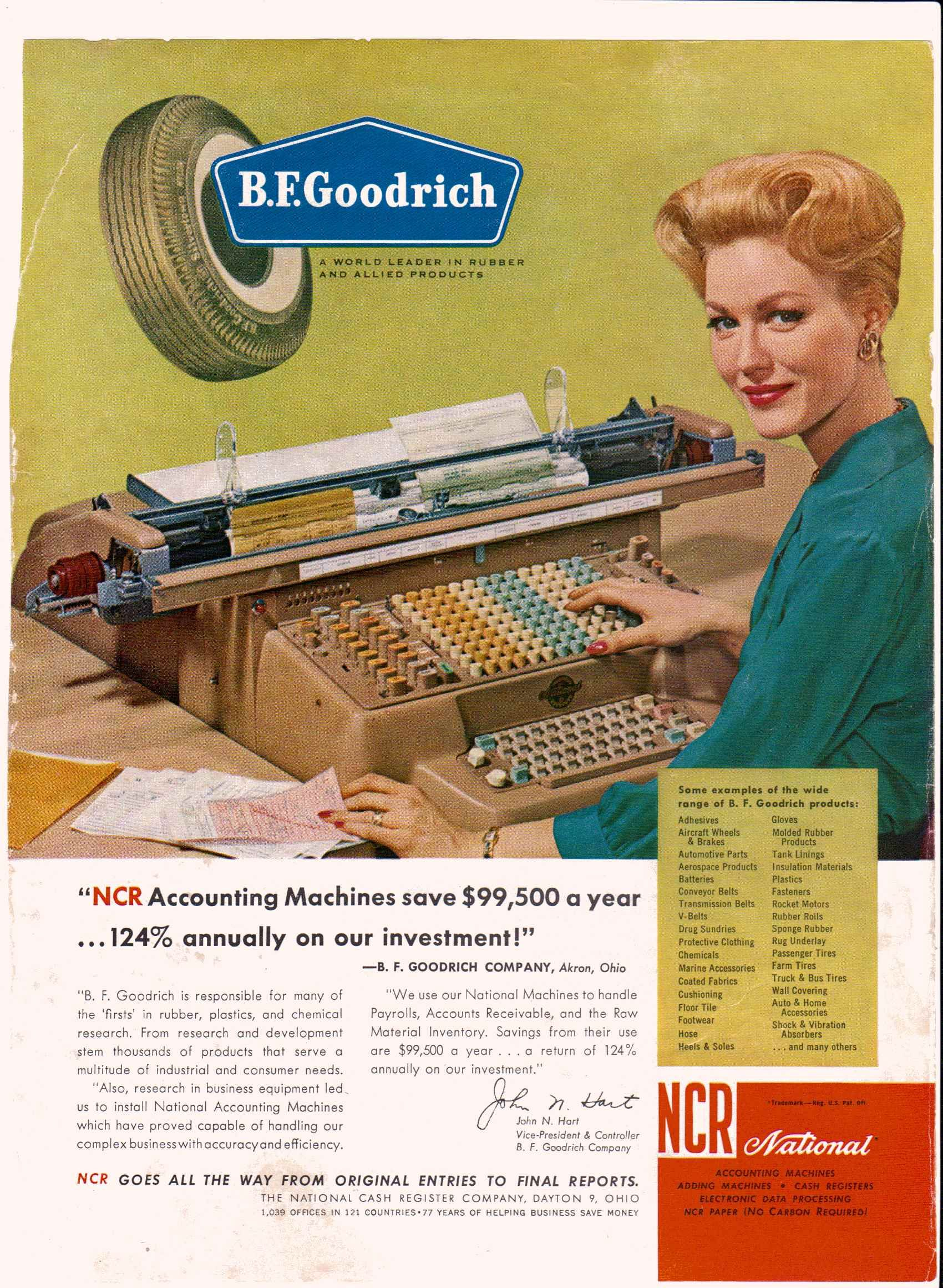 1962 NCR accounting machines, on B.F Goodrich advertisement.