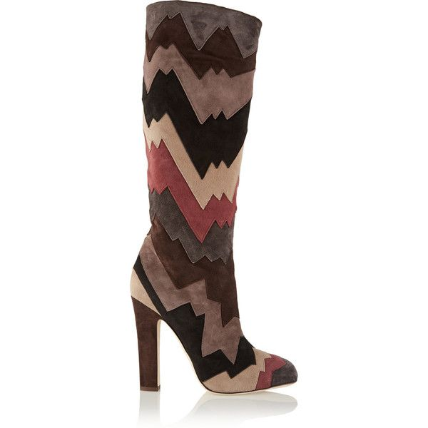 Amazing Jimmy Choo Knee Boots Suede Brown Divina Paneled