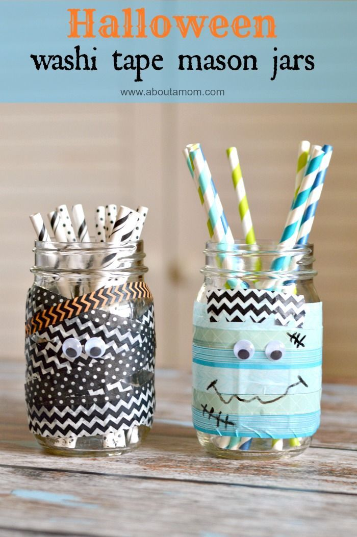 Washi Tape Halloween Mason Jars Craft Simple halloween decorations - halloween crafts decorations