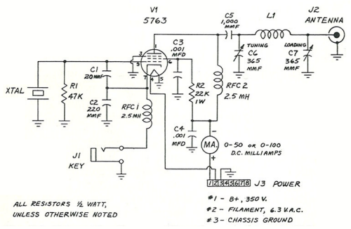 schematic diagram of single-tube transmitter design by charles caringella,  w6njv