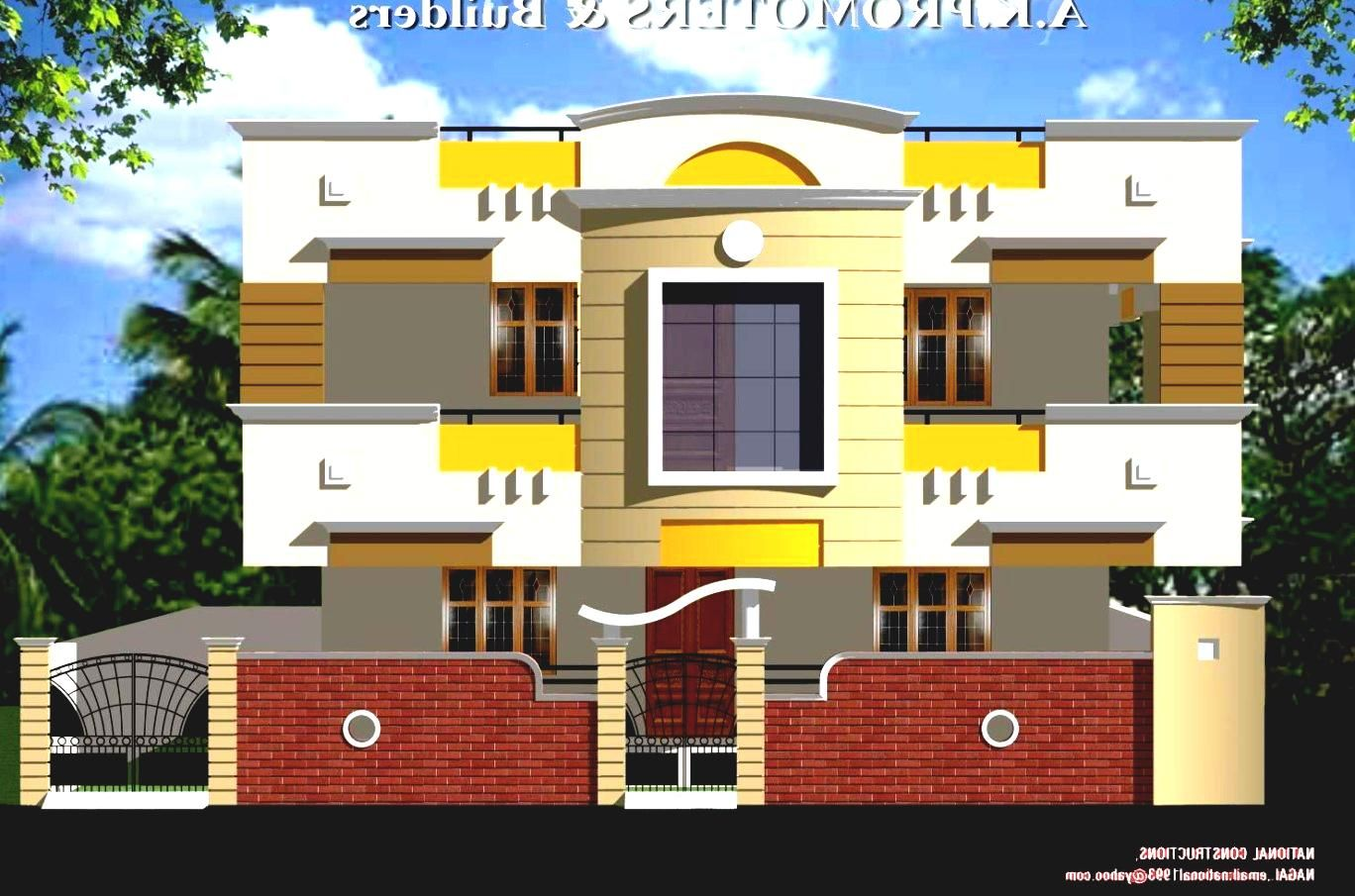 Front Elevation Wall Design : Front view indian house plans majji srinivasarao