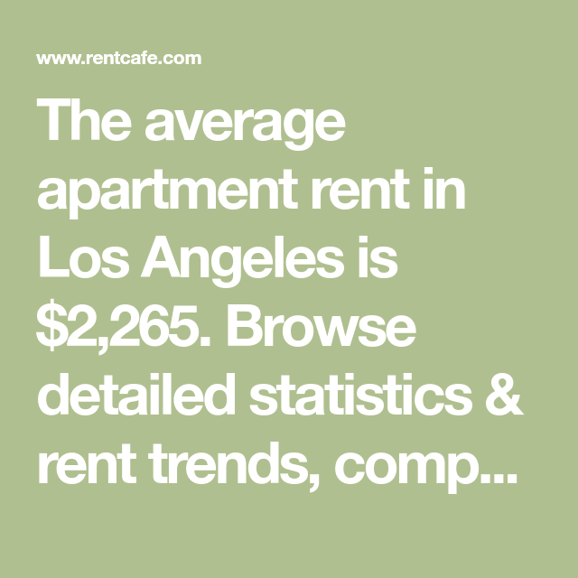 The Average Apartment Rent In Los Angeles Is $2,265
