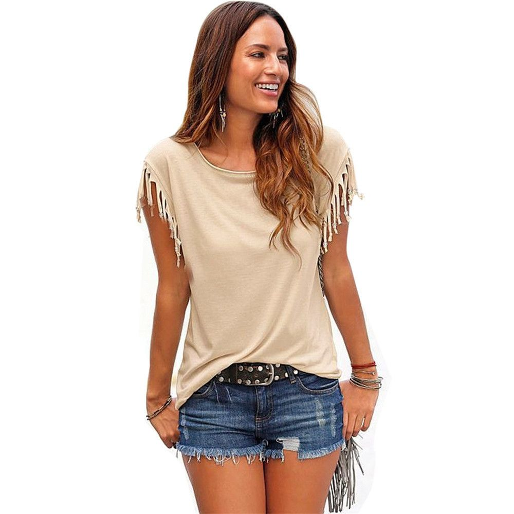 Click to buy ucuc summer casual cotton tassel short sleeve