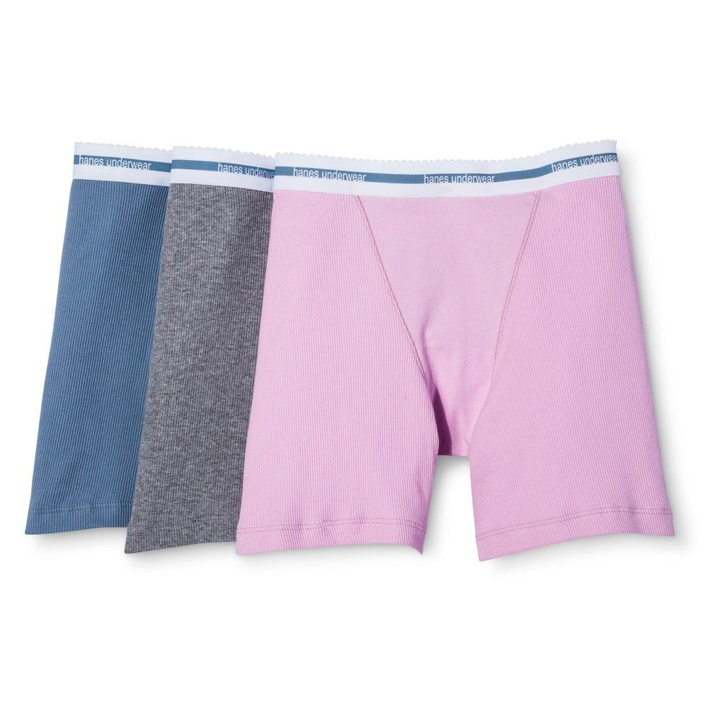 Hanes Premium Women s Boyfriend Mid Thigh Boxer Brief 3-Pack -  Multi-Colored M eb3402ac6