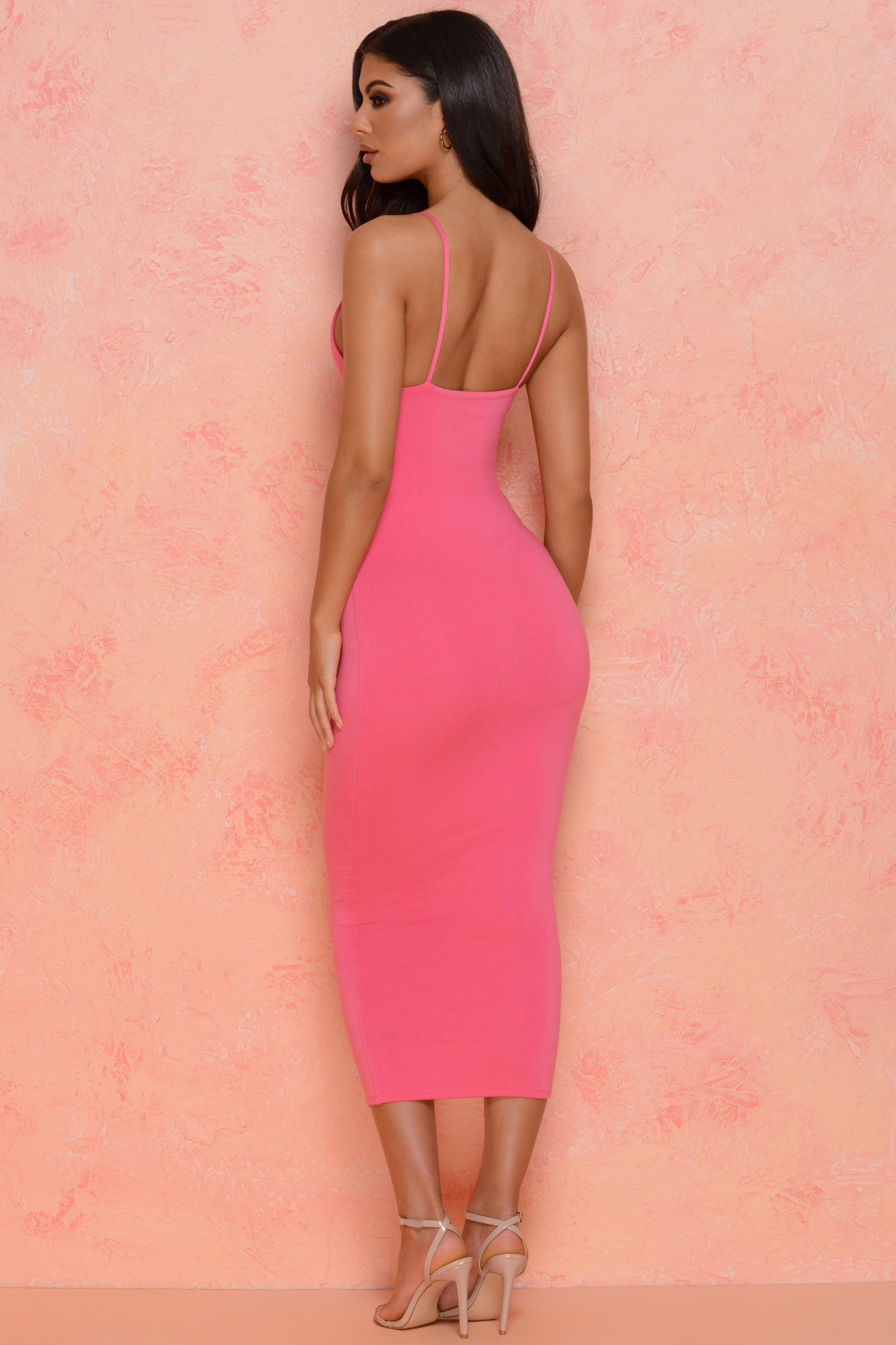 1247fa30890 ... Clothing - Oh Polly by Ian. Catch Feels Double Layered Midi Dress in  Pink