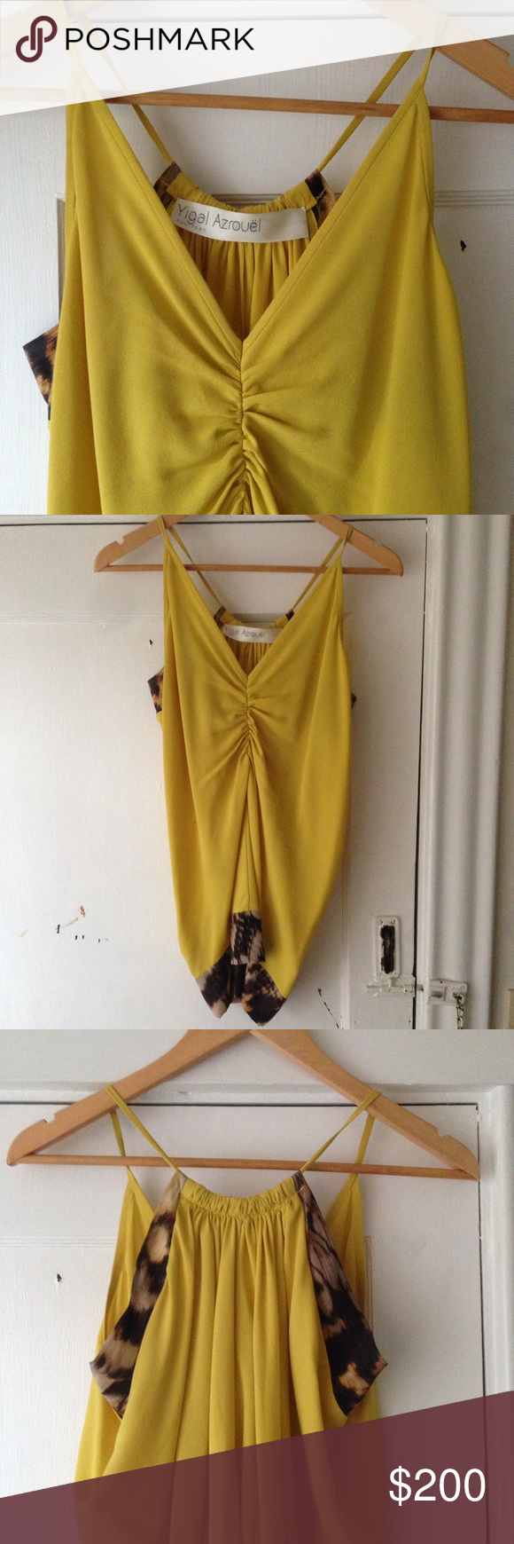 Yigal Azrouel Silk Tank 100% silk tank from designer Yigal Azrouel. Low V neck with print detail on bottom hemline and under arms. In pristine condition, worn only twice. Can provide additional information upon request! American made, New York based design. Yigal Azrouel Tops Tank Tops