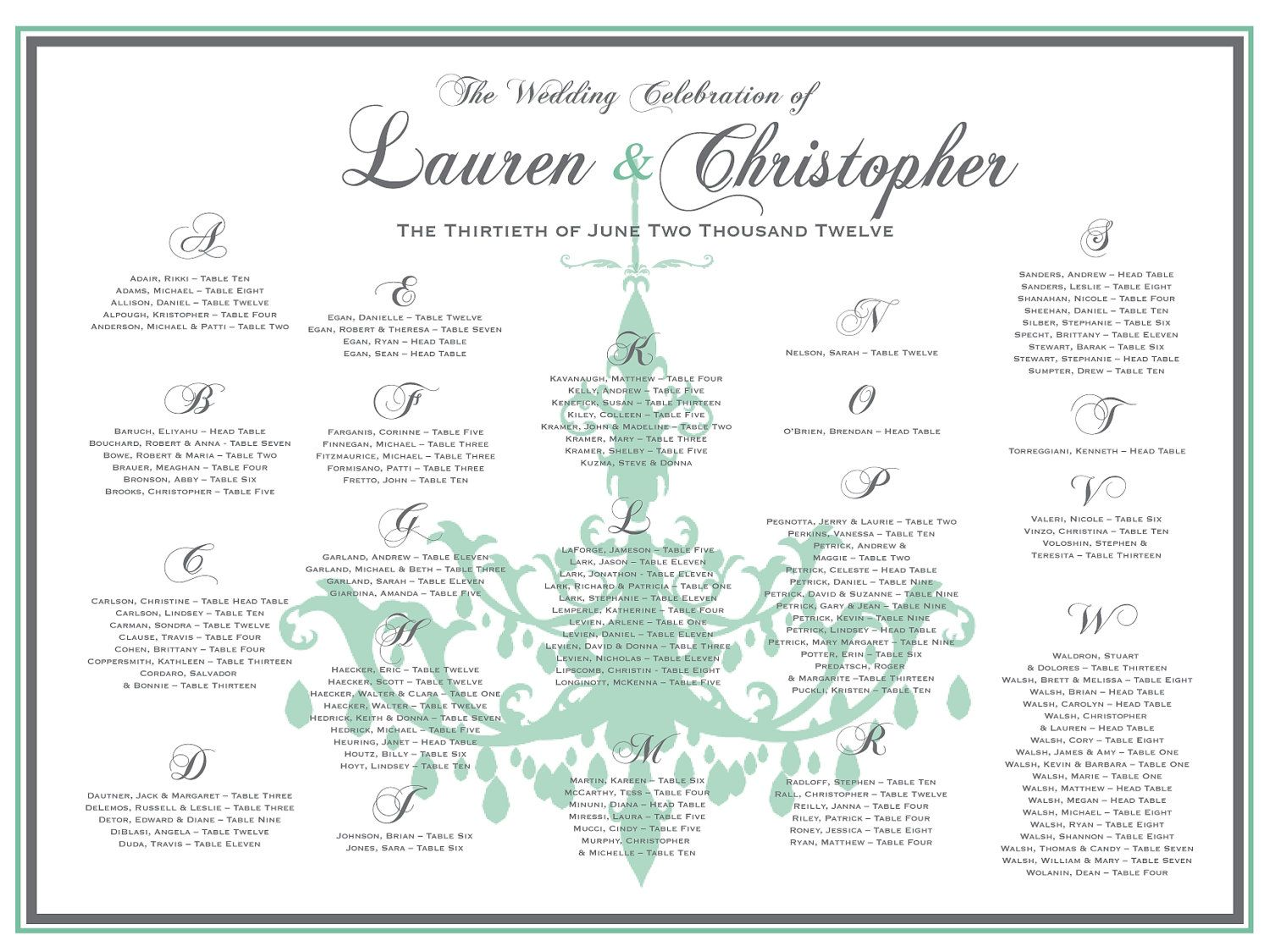 Tiffany Wedding Seating Chart  Via Etsy  Charliesa