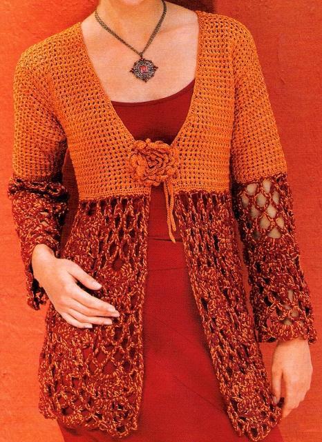 Chaqueta-Chaleco dos puntos de crochet - Patrones Crochet | Chalecos ...