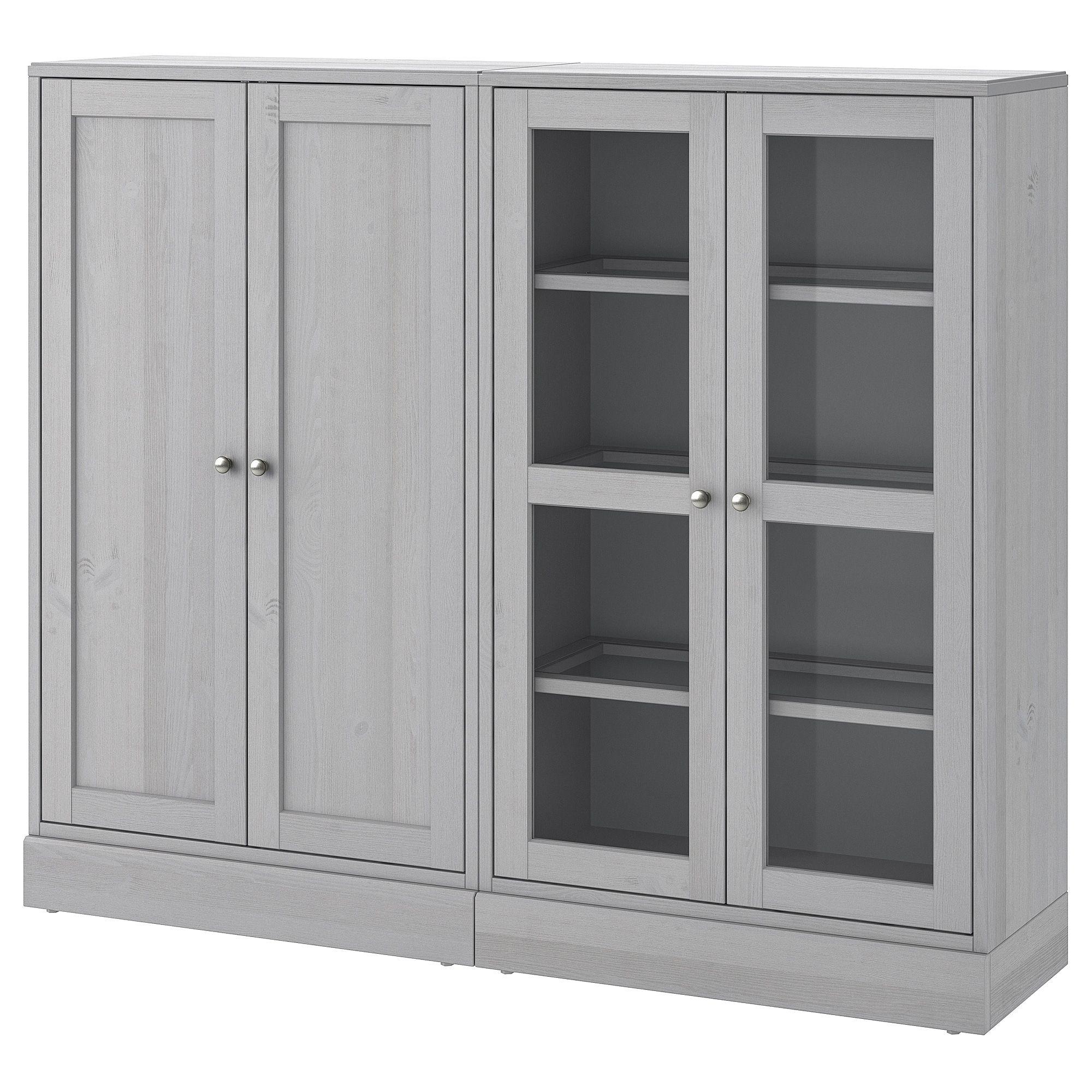 Havsta storage combination w glass doors gray home storage doors ikea