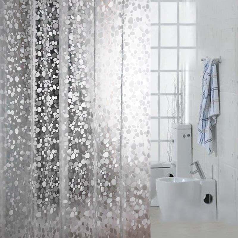1 Pc Bath Transparent Waterproof Shower Curtain Mildew Thick Pebble Grain  Rideau De Douche+12
