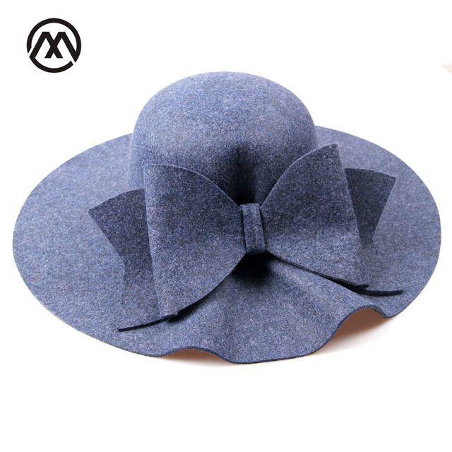81d97bc08 2017 Bow Tie Fedoras Felt Hats Women Autumn Winter Cap For Women ...