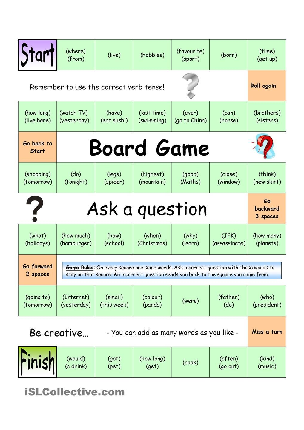 Board Game - Ask a Question (Medium) | ESL Games | English games ...