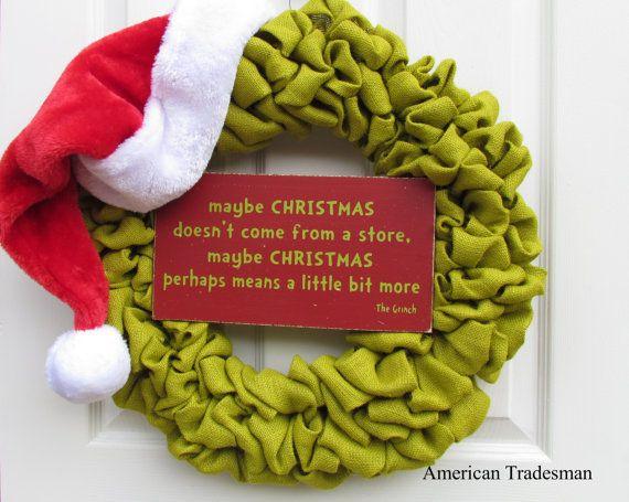 Grinch Burlap Wreath, Christmas Wreath, Burlap Green Christmas