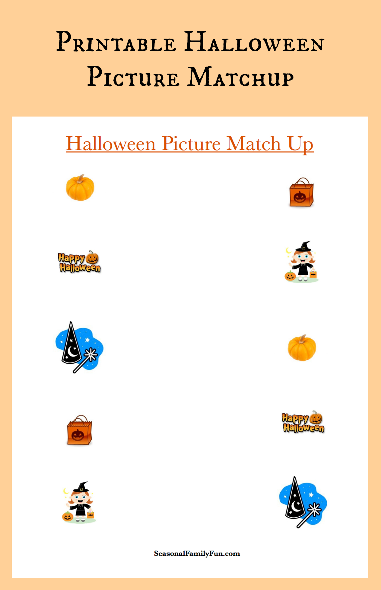 Free Printable Halloween Matchup Perfect For School