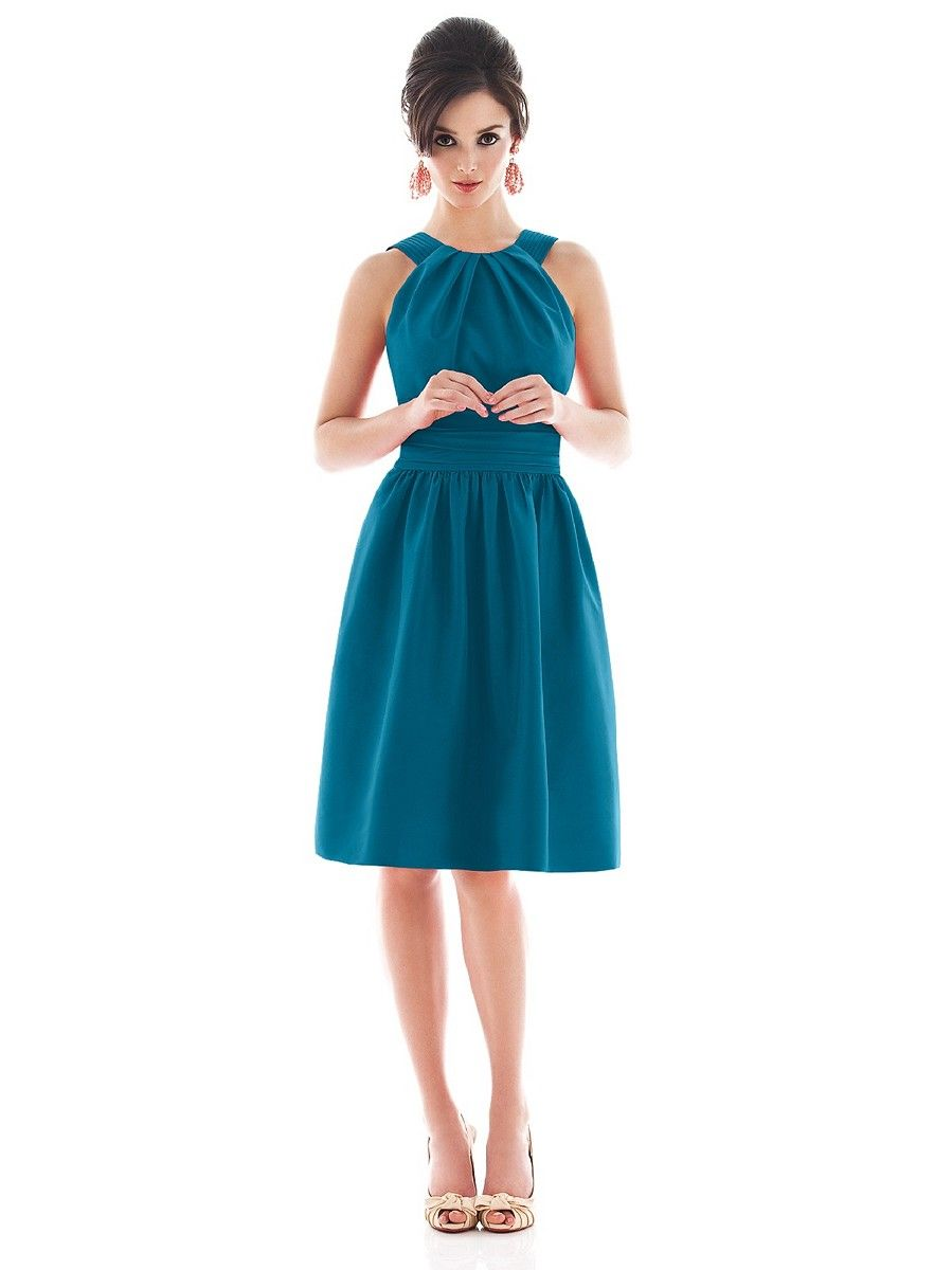 Alfred Sung D494 Bridesmaid Dress Pleated Halter Neck Pockets ...