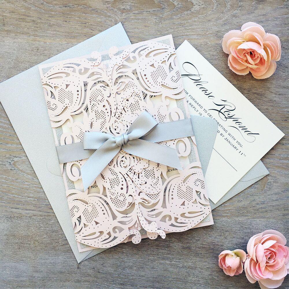 2017 New Unique Laser Cut Wedding Invitation Card With Ribbon ...