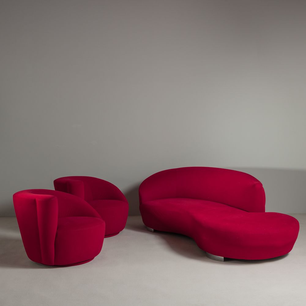 Vladimir Kagan Nautilus Swivel Chairs U0026 Serpentine Sofa   Re Upholstered  And Sold By Talisman