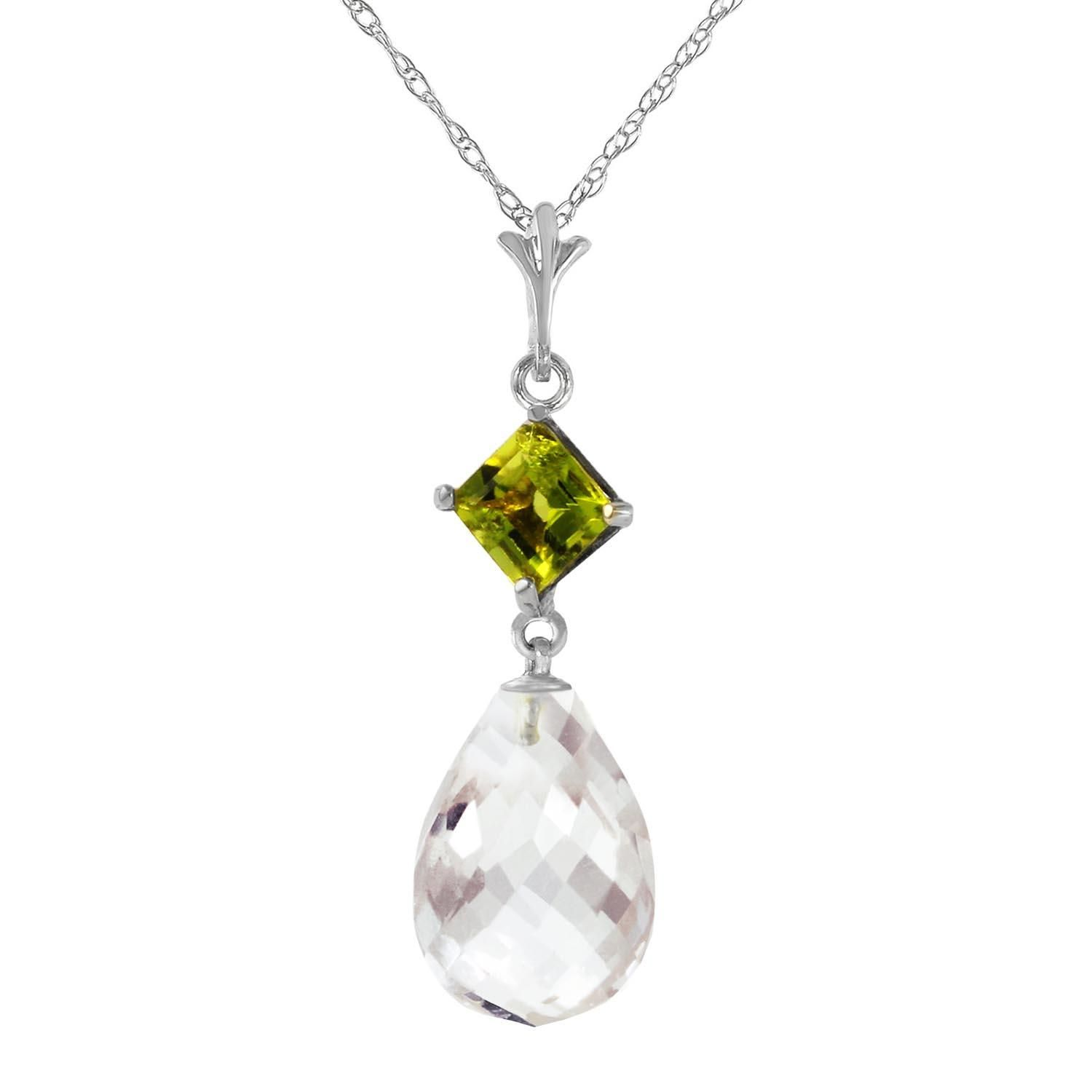 5efe728b4 #mothersday #AdoreWe #QP Jewellers Jewelry - QP Jewellers White Topaz and Peridot  Pendant Necklace 5.5ctw in 9ct White Gold - AdoreWe.com