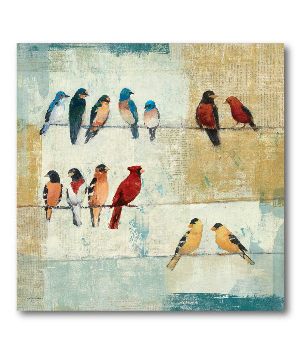 Birds On A Wire Canvas Wall Art Zulily Canvas Art Bird Canvas Painting