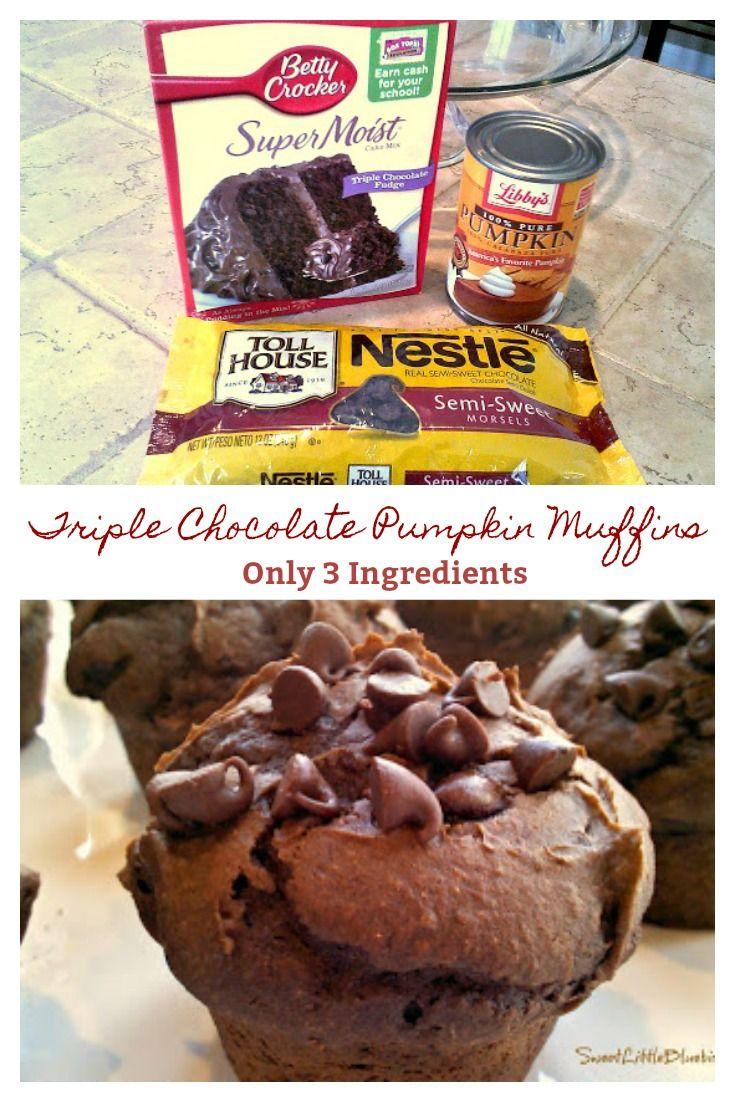 Triple Chocolate Pumpkin Muffins - (3 Ingredients) #pumpkinmuffins