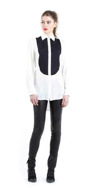 2798c1ca3c0646 Stretch silk georgette tuxedo blouse. -Marissa Webb