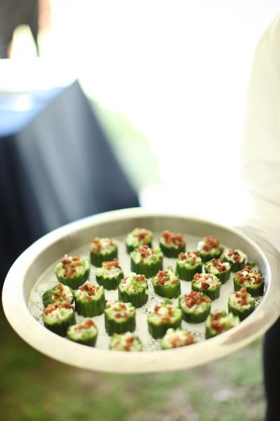 Stuffed cucumbers for passed apps! Yum!! #wedding #food