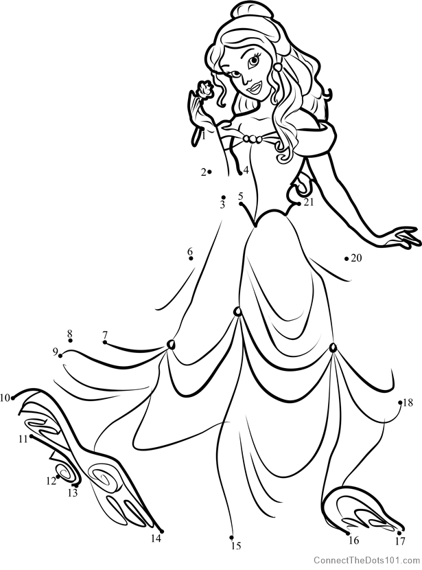 Princess Belle dot to dot printable