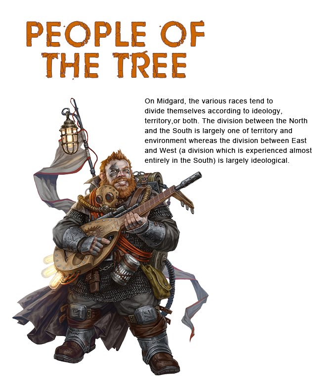 People of the Tree. This is the image of an Iron Dwarf. He has a gun lute and bright, red hair.