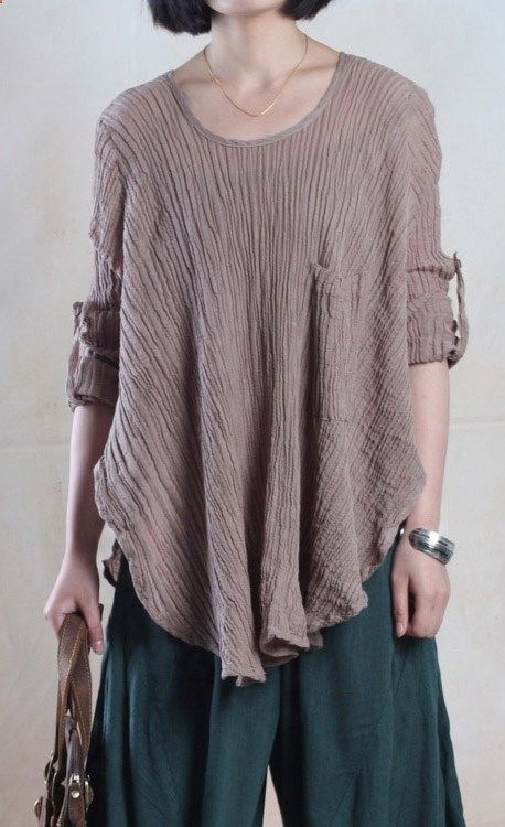 4b2bf6d8a41 Women plus size blouse linen relaxed shirt loose fit top slounchy shirt in  khaki