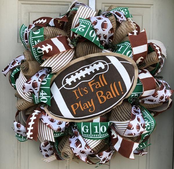 Fall Football Wreath | Football Decor | Front Door Decor | Door Hanger | Mesh Wreath #wreaths