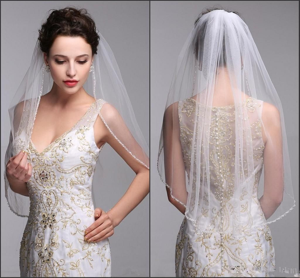 Ivory White Bead Edge Bridal Veils One Layer Elbow Length Wedding Veil with Comb