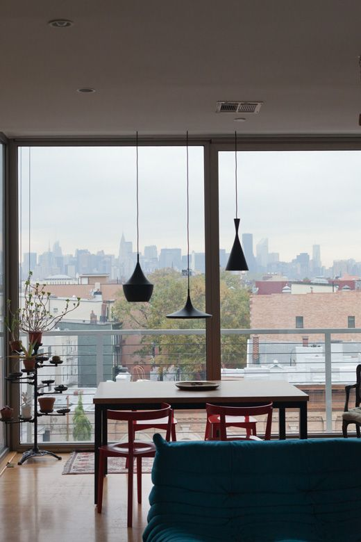 Beat Shades with a view via Elle Interior  http://www.nest.co.uk/product/tom-dixon-beat-light-wide-black