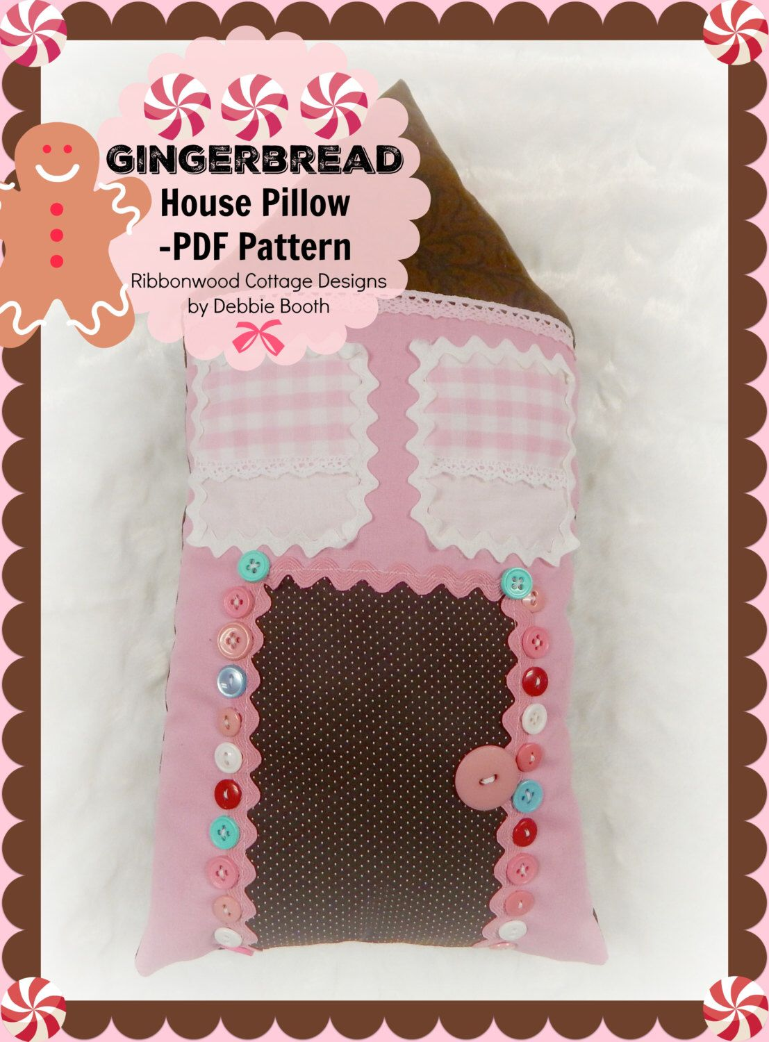 Sewing Pattern Gingerbread House Pillow PDF Sewing