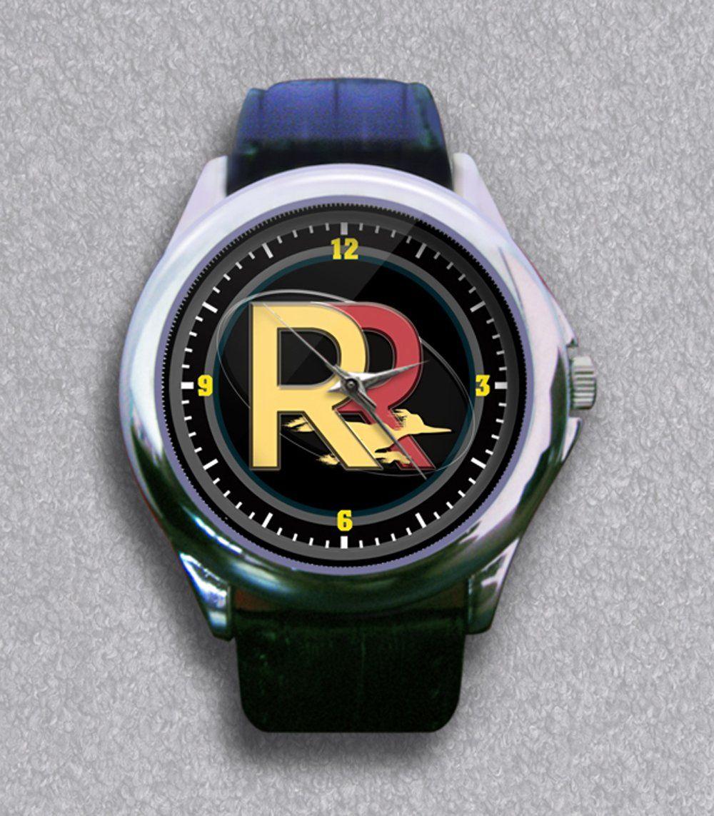 New RR Logo Gloss Shape Leather Wrist Watch