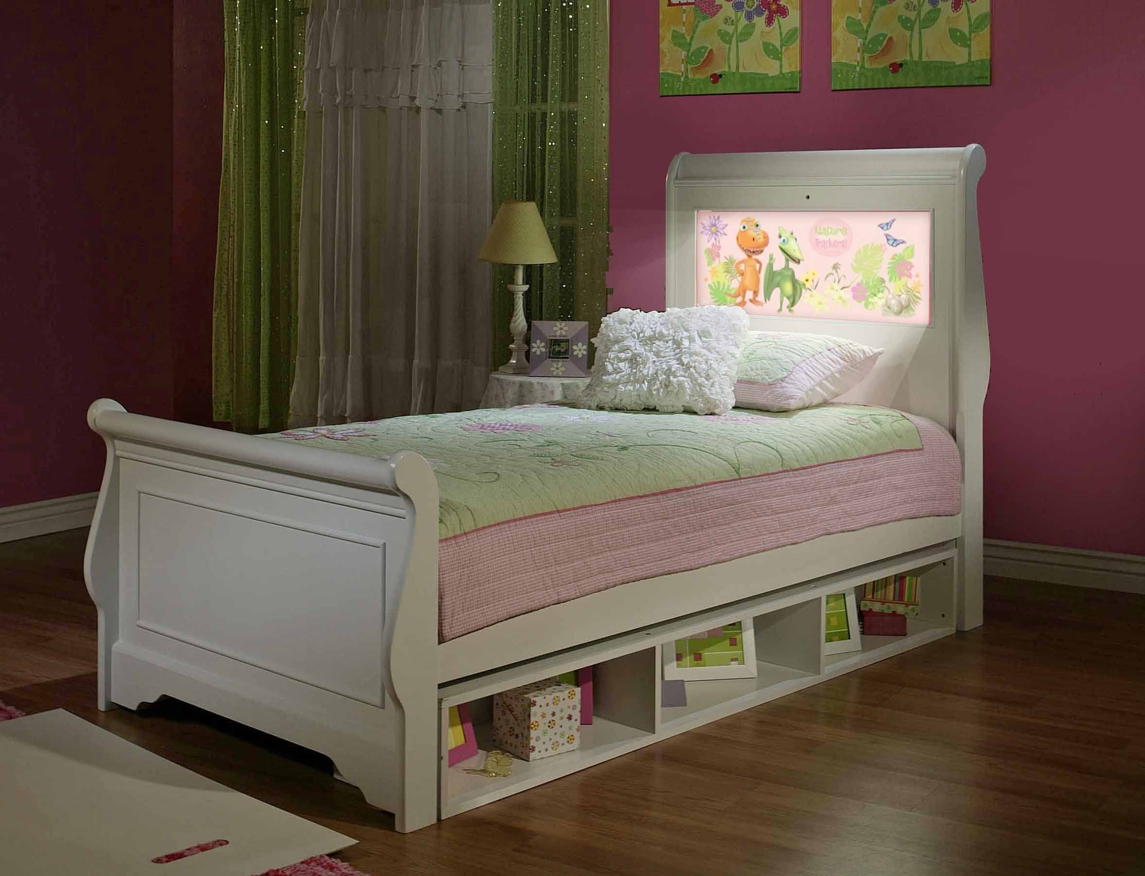"""Edgewood"" Sleigh bed in white with underbed storage from"