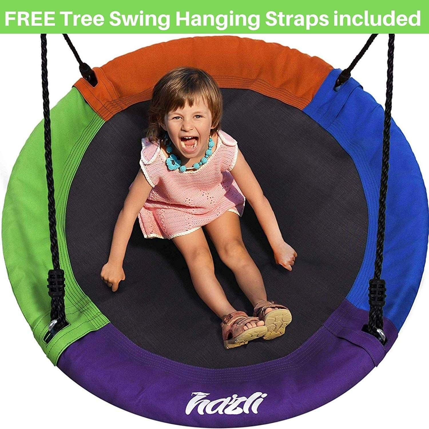 HAPPYMATY 40 Round Saucer Tree Swing 880lb Giant Sturdy Flying Platform for Kids and Auldts with Long Adjustable Hanging Kits Easy Installation and Hang from The Tree