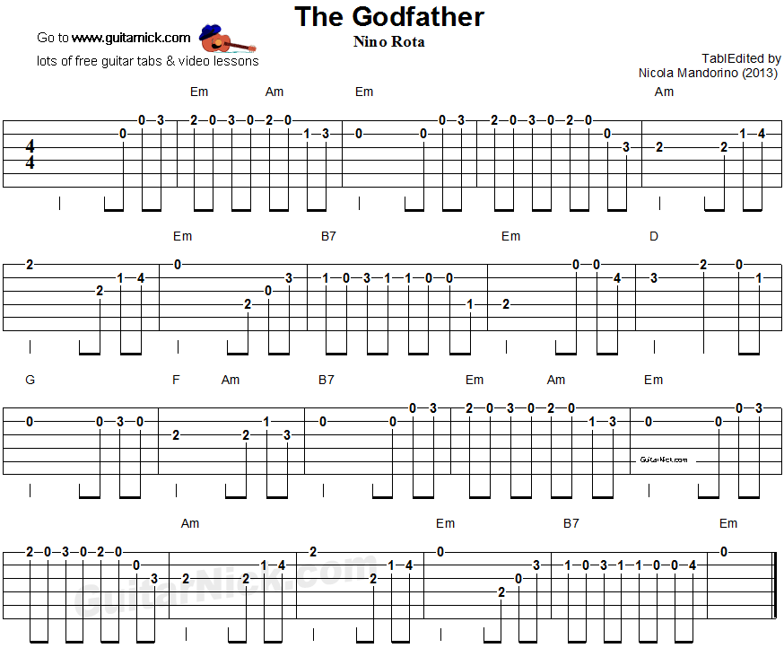 The Godfather Easy Guitar Tablature Guitar Tabs Pinterest