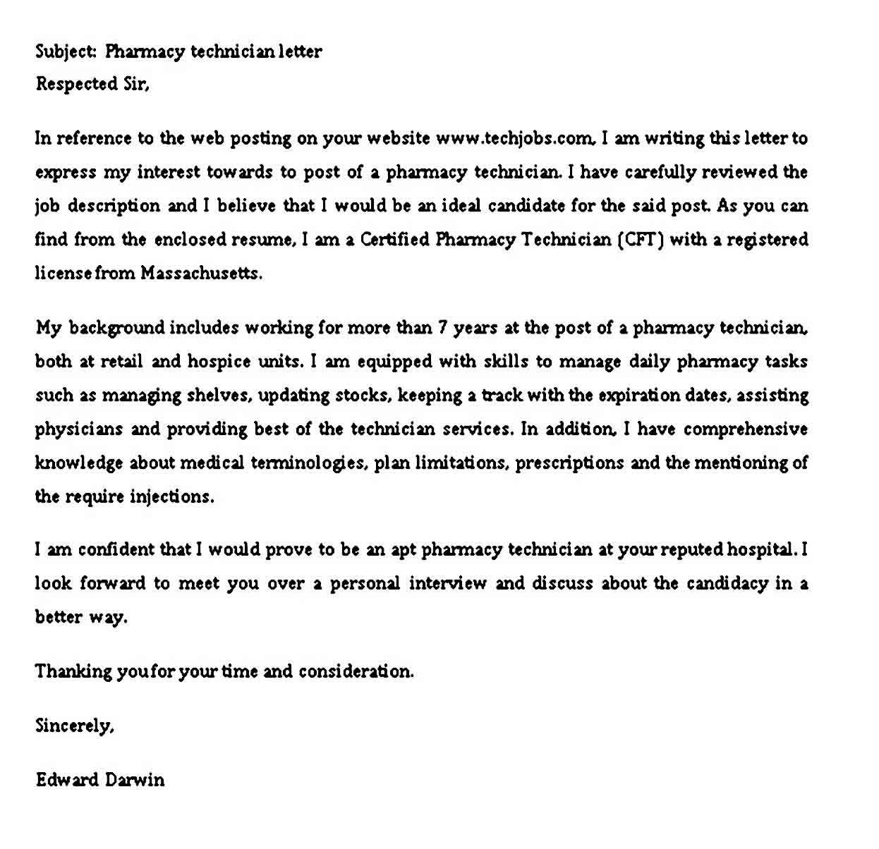 4 Sample Pharmacy Technician Letter Pdf Word Pharmacy Technician Lettering Technician