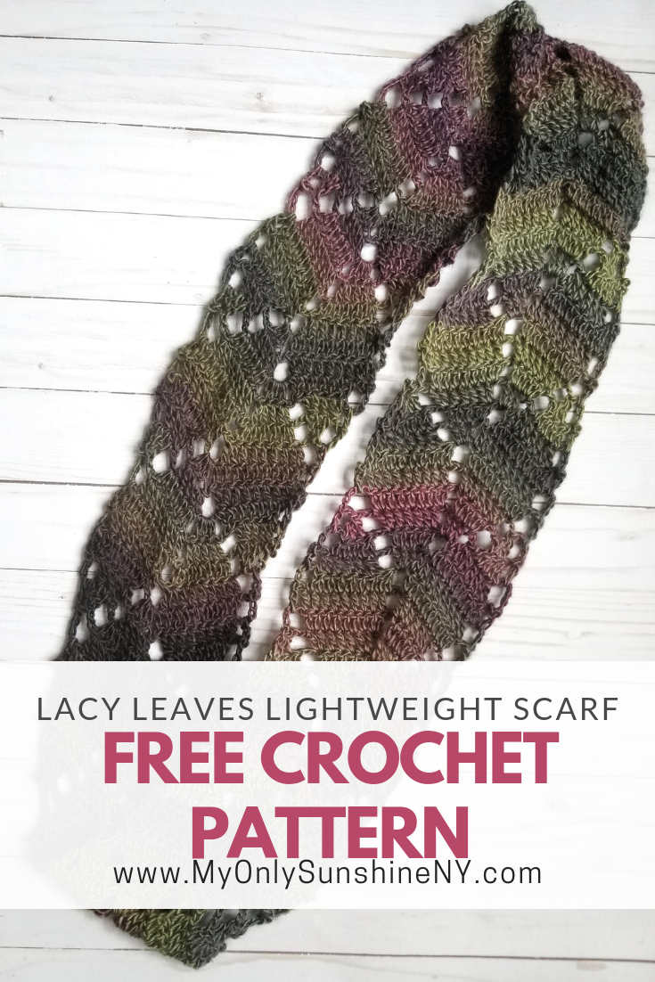 Free leafy scarf crochet pattern from My Only Sunshine ...