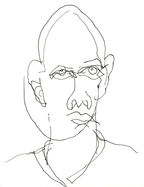 Blind Line Drawing Artists : Blind contour drawing of myself self portrait art