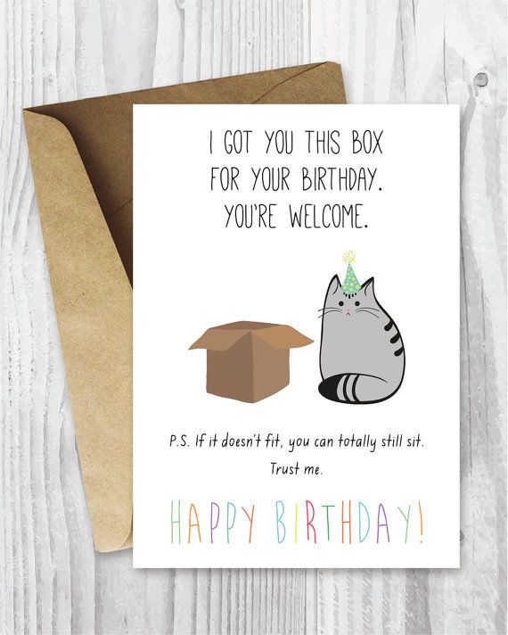 Birthday Card Printable Happy Cat Digital Funny Box Instant Dow