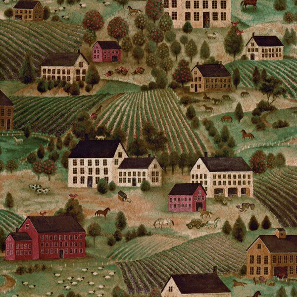 """Folk Country Scenic 33' x 20.5"""" Prepasted Roll Wallpaper"""
