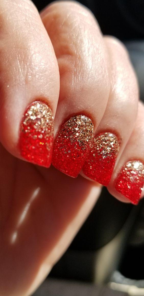 Christmas nails; Holiday nails; Winter nails; red and gold