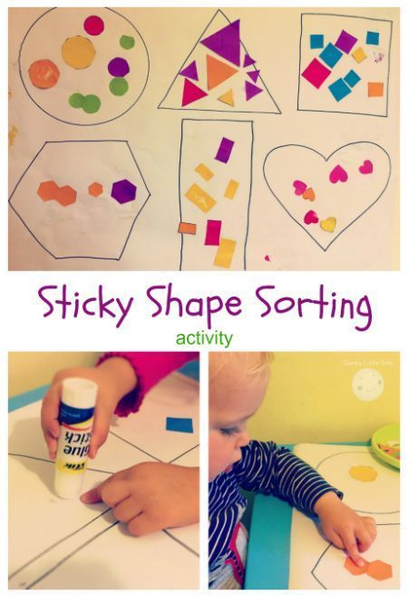Sticky Shape Sorting Activity is part of Shape activities preschool, Shape sorting activities, Shapes preschool, Art activities for toddlers, Shapes activities, Learning shapes - Today I'm combining two toddler favourites   sorting and sticking  Toddlers love to sort things out and categorise them so after the success of our Shape Matching with Blocks activity last month I decided to expand on this and set up a sticky shape sorting activity  You will need Large roll of paper Glue Scissors    Read more »