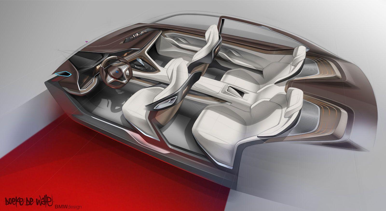 Bmw vision future luxury concept interior design sketch by doeke de walle