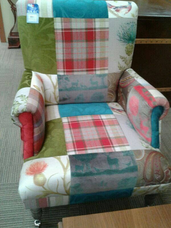 An example of a Scottish patchwork chair. I think the layout is all wrong