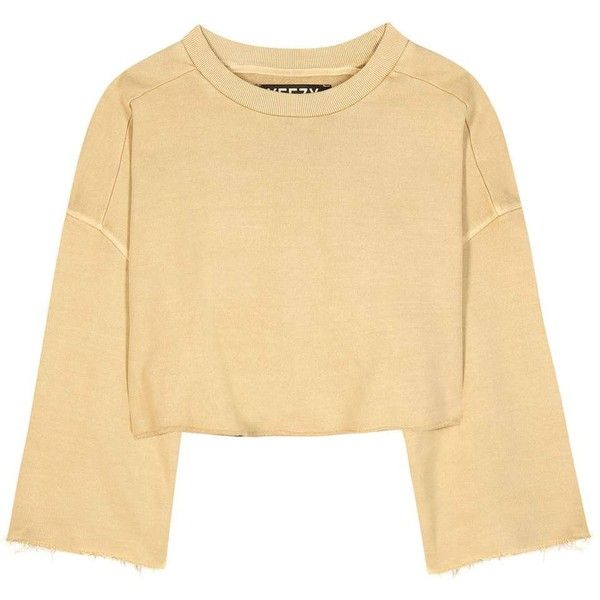Yeezy Cropped Cotton Sweater (SEASON 1) (€220) ❤ liked on Polyvore featuring tops, sweaters, yellow, yellow crop sweater, adidas originals sweater, beige top, yellow crop top and beige crop top